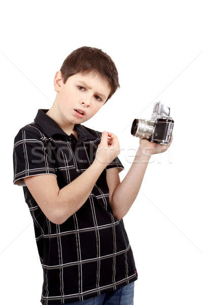 young boy with old vintage analog SLR camera Stock photo © artush