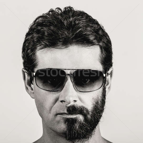 split personality - portrait of man with half shaved face Stock photo © artush