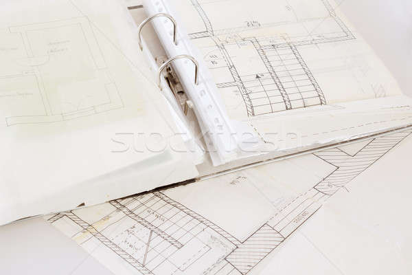 Foto stock: Arquitetônico · planos · papel · velho · arquivo · projeto · papel
