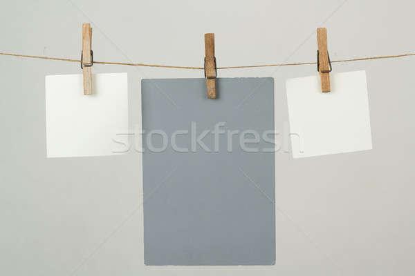 Geheugen nota papieren opknoping koord witte Stockfoto © artush