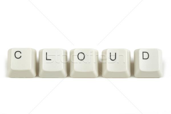Wolk toetsenbord sleutels witte tekst geïsoleerd Stockfoto © artush