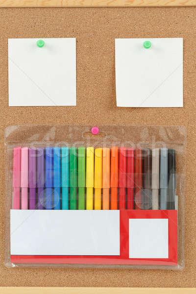 Szín jegyzetek parafa tábla kilátás szín iroda Stock fotó © artush