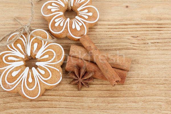 Gingerbread cookies with star anise and cinnamon Stock photo © artush