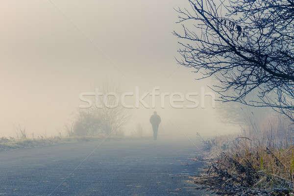 Férfiak sziluett köd személy séta ködös Stock fotó © artush