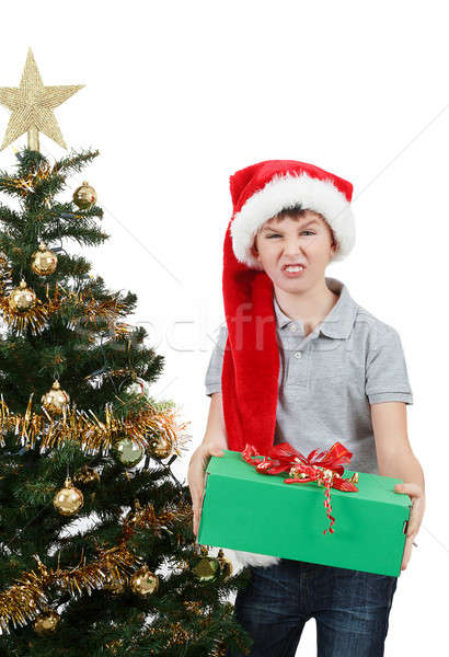 Święty mikołaj hat zdziwiony christmas obecnej Zdjęcia stock © artush