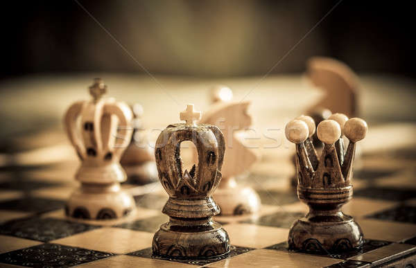 chess with focus to black king in front Stock photo © artush
