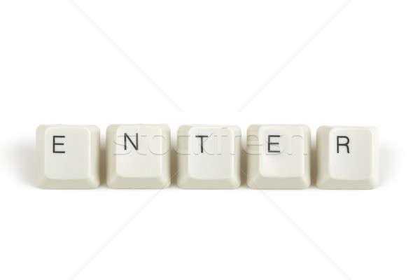 клавиатура ключами белый текста изолированный Сток-фото © artush