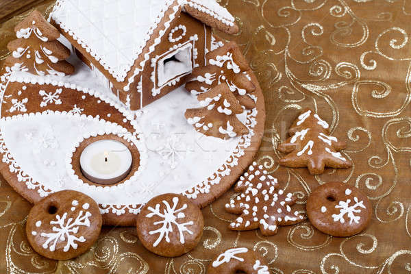 homenade Holiday Gingerbread house Stock photo © artush