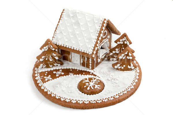 Stock photo: Holiday Gingerbread house isolated on white.