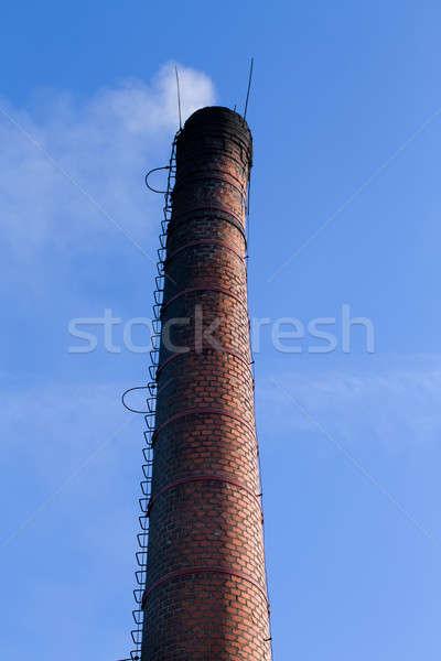 Dymu na zewnątrz komin biały Błękitne niebo niebo Zdjęcia stock © artush