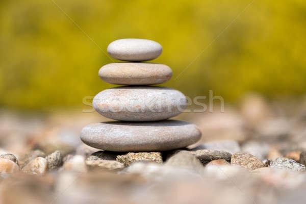 Pile of balancing pebble stones outdoor Stock photo © artush
