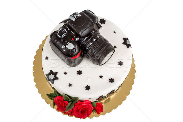 birthday cake for forty anniversary with modern DSLR photo camera Stock photo © artush