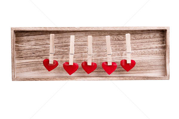 Red fabric heart hanging on the clothesline Stock photo © artush
