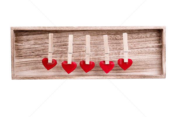 Rood weefsel hart opknoping waslijn houten Stockfoto © artush