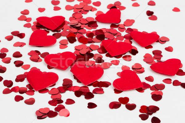 красный сердцах конфетти ткань сердце небольшой Сток-фото © artush