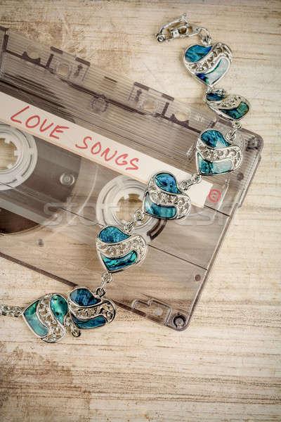 Photo stock: Audio · cassette · bande · bracelet · texte · amour