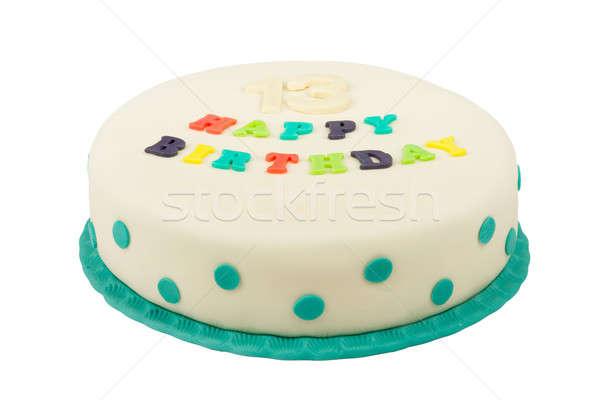 Születésnapi torta szöveg boldog születésnapot tizenhárom évforduló izolált Stock fotó © artush