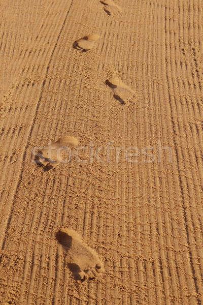 Human footprints on the beach sand Stock photo © artush