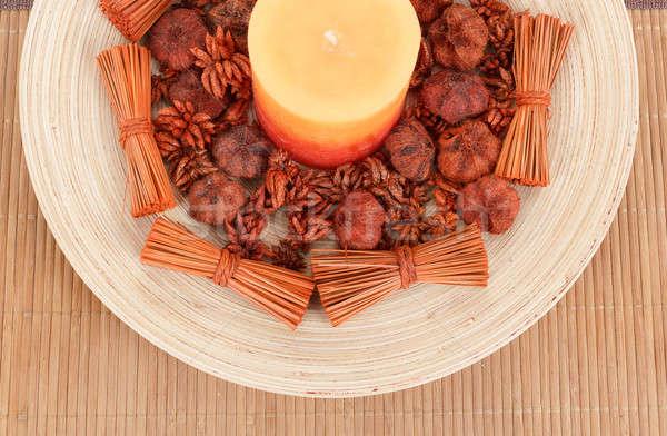 Casa decorazione aromatico candela accessori legno Foto d'archivio © artush
