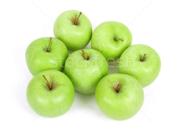 семь зеленый яблоки изолированный белый свежие Сток-фото © artush