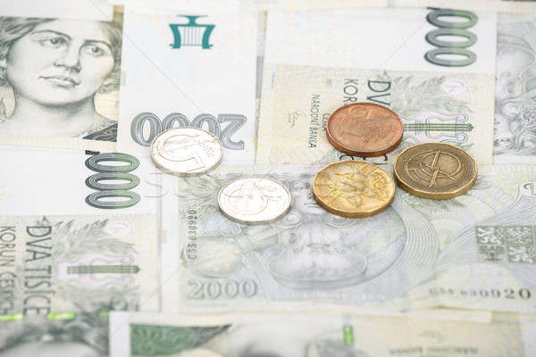 czech banknotes crowns and coins background Stock photo © artush