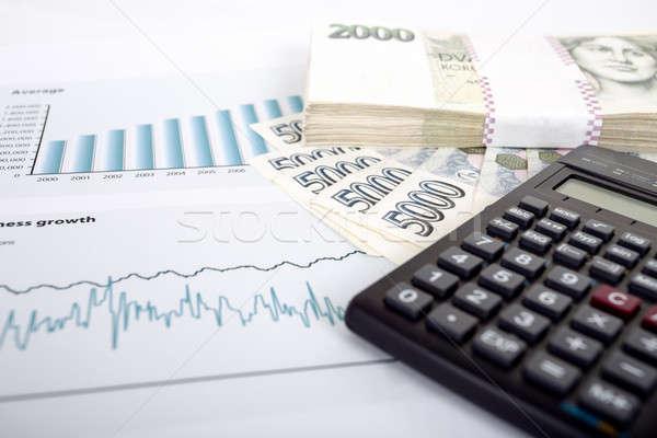 czech money, calculator and charts Stock photo © artush