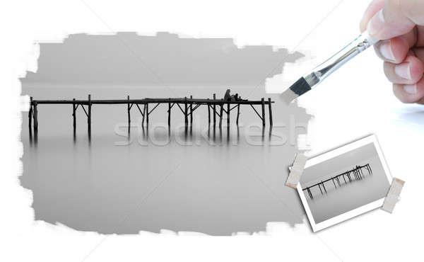 Trekken illustratie landschap foto penseel hand Stockfoto © arztsamui