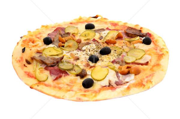 ピザ 孤立した 白 食品 緑 チーズ ストックフォト © ashumskiy