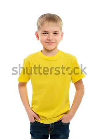 肖像 幸せ 少年 白 笑顔 ストックフォト © ashumskiy
