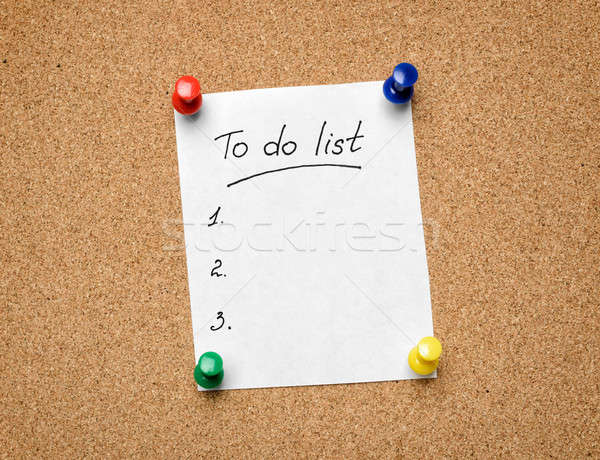 A To Do List pinned to a cork notice board as an aid to efficien Stock photo © ashumskiy