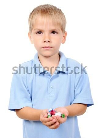 Pequeno menino manter mão isolado Foto stock © ashumskiy