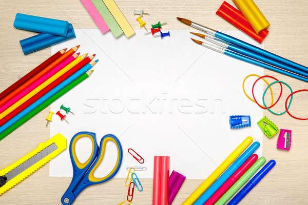 Stock fotó: Tanszerek · üres · papír · iskola · asztal · papír · toll