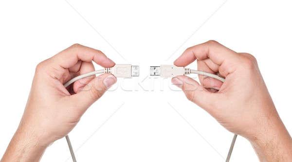 Ręce kabel komputerowy odizolowany biały działalności biuro Zdjęcia stock © ashumskiy