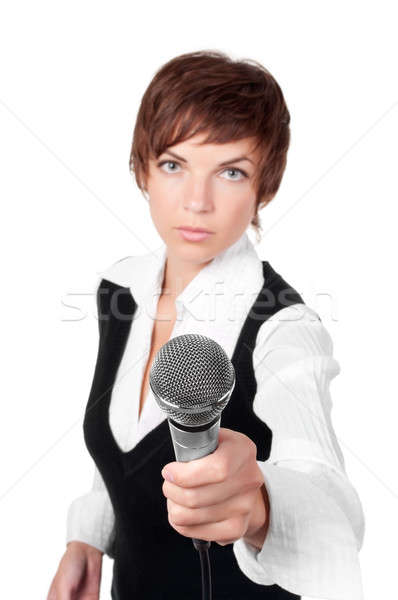 Journalist with microphone Stock photo © ashumskiy
