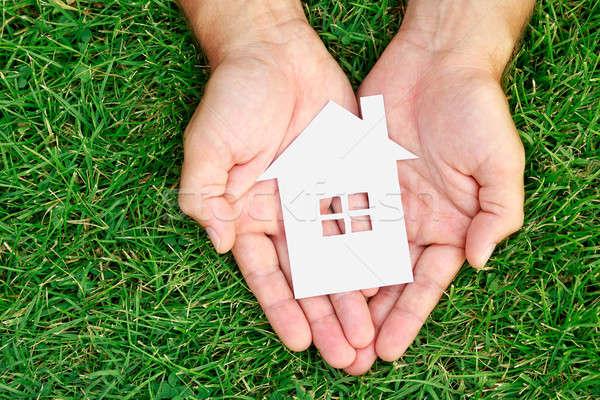 Main tenir maison vert domaine herbe Photo stock © ashumskiy