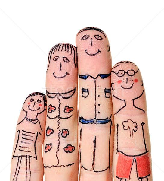 Dedos familia aislado blanco sonrisa cara Foto stock © ashumskiy