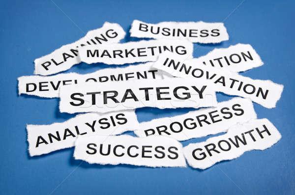 Torn newspaper headlines depicting business strategy  Stock photo © ashumskiy