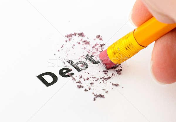 Schuld einde potlood woord business papier Stockfoto © ashumskiy