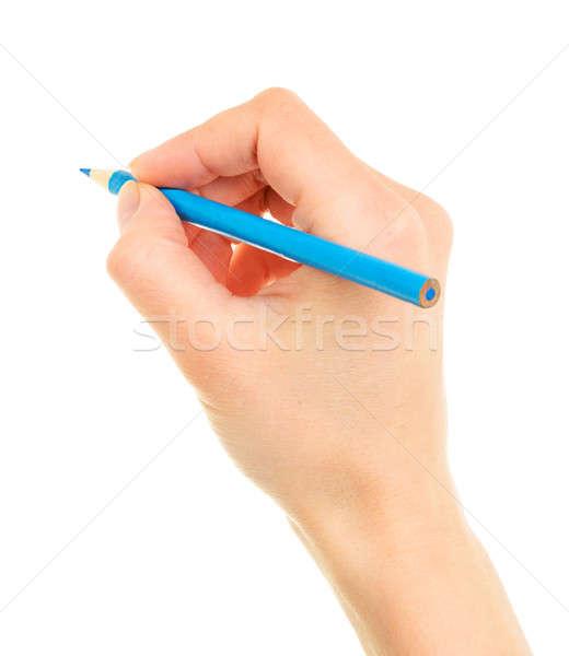青 鉛筆 手 孤立した 白 少女 ストックフォト © ashumskiy