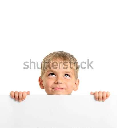 かわいい 少年 ホワイトボード 孤立した ストックフォト © ashumskiy