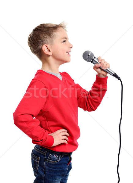 少年 マイク 歌 孤立した 白 ストックフォト © ashumskiy