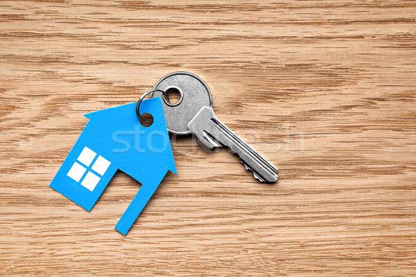 Zilver sleutel Blauw huis cijfer houten Stockfoto © ashumskiy