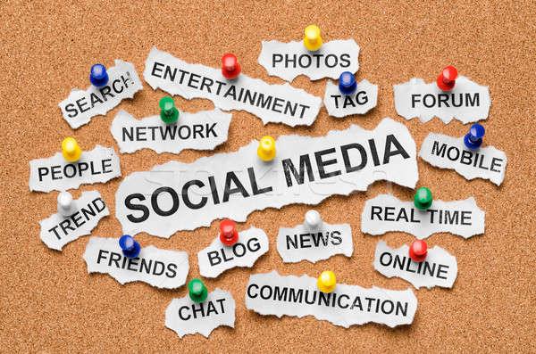 Social media woorden krant kurk Stockfoto © ashumskiy
