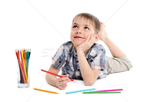 夢のような 子 少年 鉛筆 白 笑顔 ストックフォト © ashumskiy