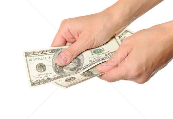 Para el yalıtılmış beyaz kadın imzalamak Stok fotoğraf © ashumskiy