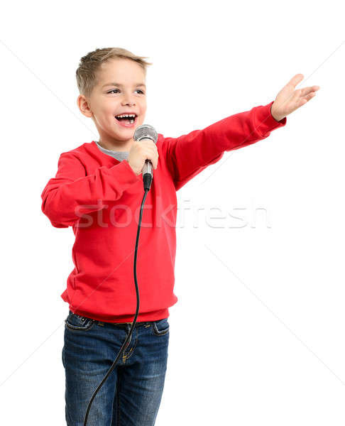 Little boy with microphone sings a song Stock photo © ashumskiy