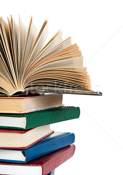 close up of stack of colorful books Stock photo © ashumskiy