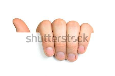 Mão branco vazio papel isolado Foto stock © ashumskiy