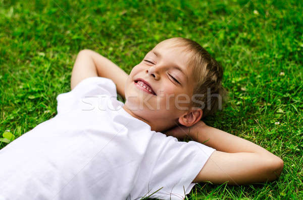 Souriant peu garçon domaine vert main Photo stock © ashumskiy
