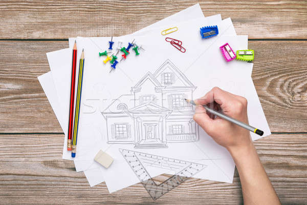 Hand drawing house  Stock photo © ashumskiy